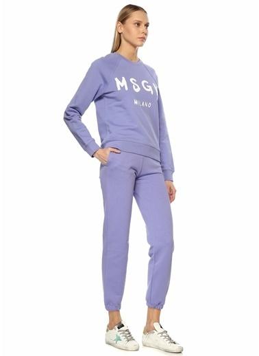 MSGM MSGM Lila Reglan Kollu Logo Baskılı Sweatshirt 101638078 Lila